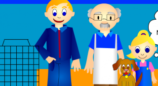 Pet tile screenshot, father, girl, pet store man, puppy
