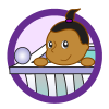 Babies theme icon, baby in crib