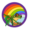 The color icon with frog and rainbow