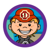 Firefighters theme icon, kid firefighter