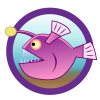 Fish theme icon, purple fish