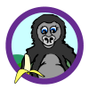 Gorilla theme icon, gorilla with a banana