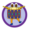 Music theme icon, dancing drum