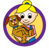 Pet theme icon, girl with puppy