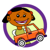 Wheels theme icon, girl with truck